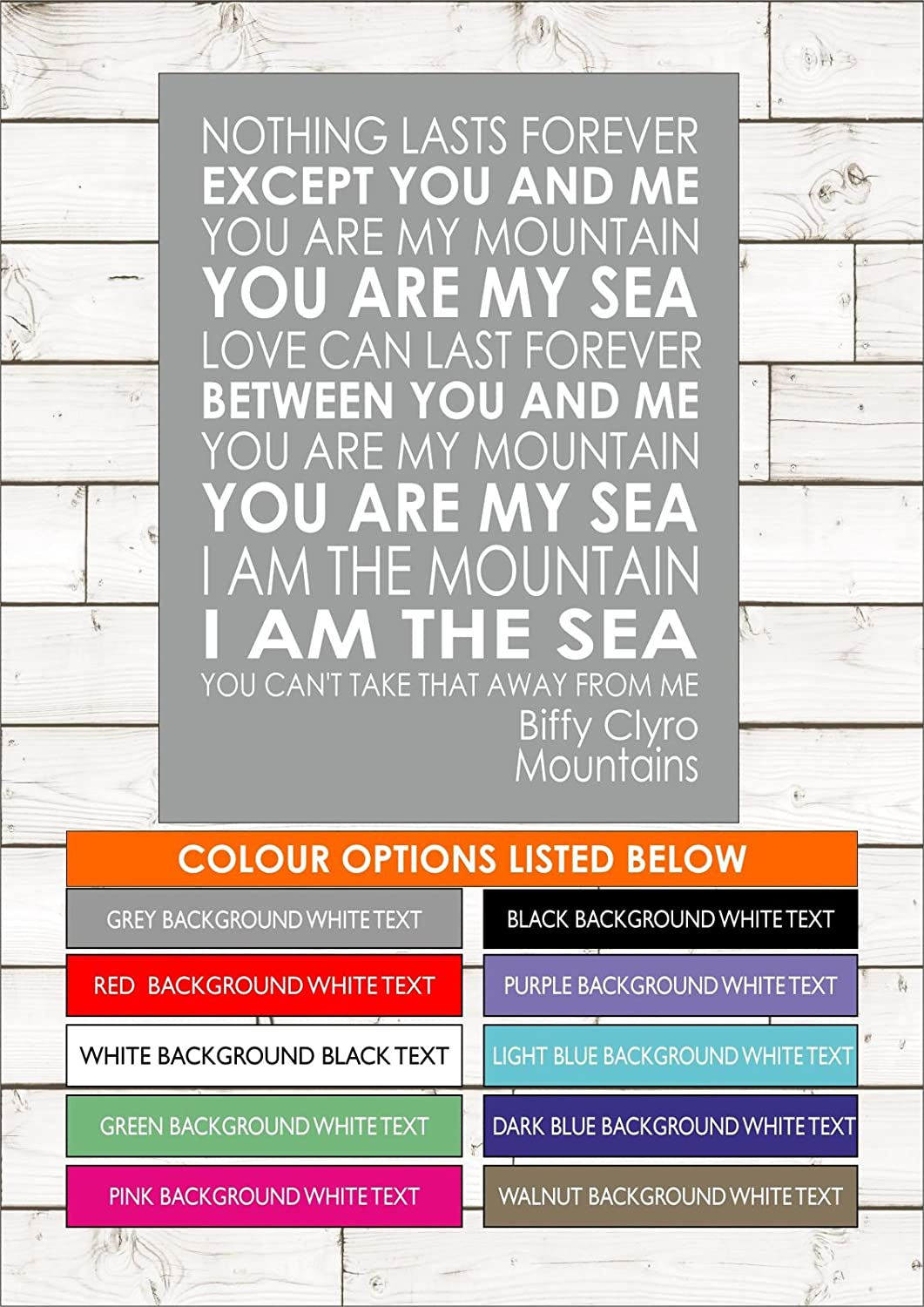 MOUNTAINS - BIFFY CLYRO - Word Typography Words Song Lyric