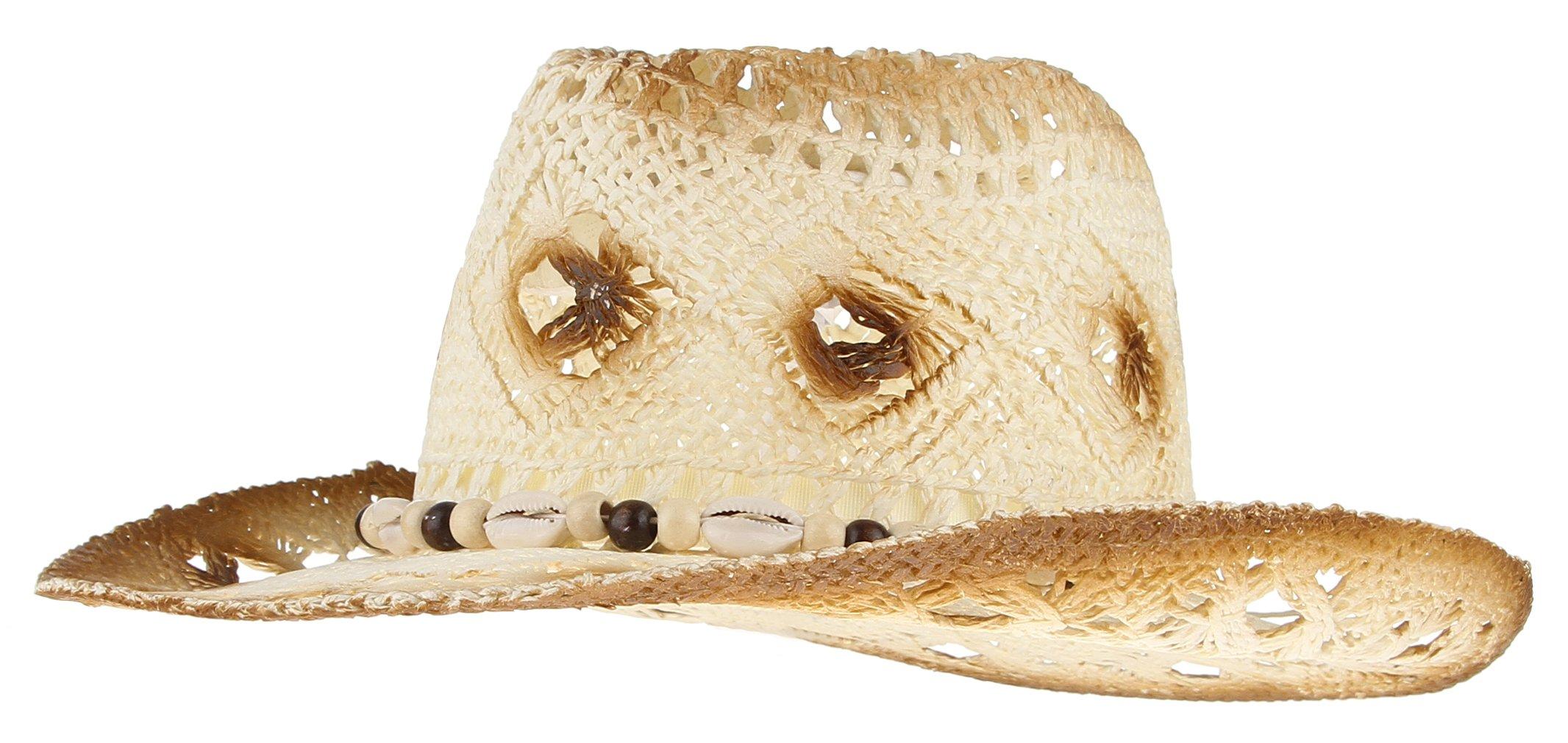 Gemvie Men's & Women's Western Style Cowboy Cowgirl Straw Hat Summer Hats