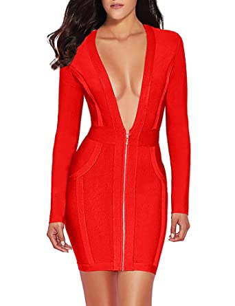 meilun Womens Deep V Front Bandage Bodycon Dress Long Sleeve Party Dress  (XS 65d0fe5f4