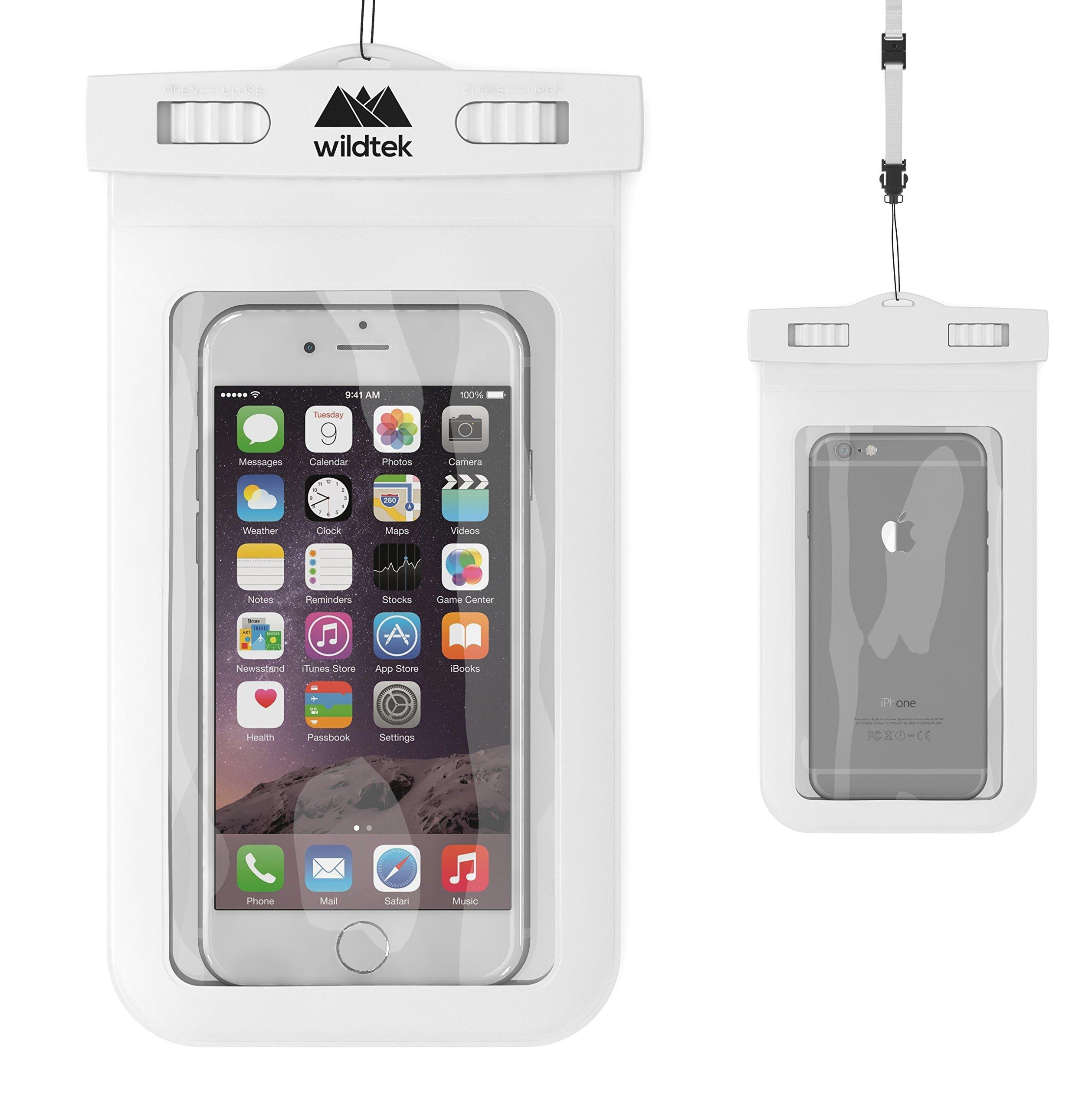 Wildtek Waterproof Case for iPhone 6, 6 plus, 5, 5s, 4, Samsung Galaxy S6, S5, S4, Samsung Note, GPS, mp3 Player, Passport - White