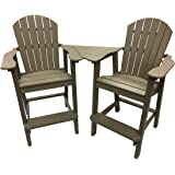Phat Tommy Recycled Poly Resin Balcony Chair Settee – Durable and Adirondack Patio Furniture, Weatherwood
