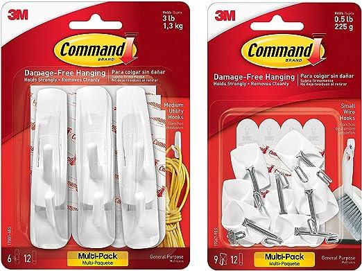 Small Command Utensil Hooks Adhesive Strips Multi-Pack General Purpose White
