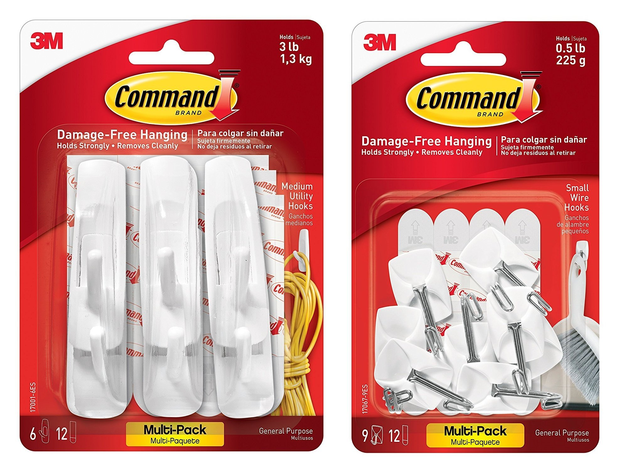 3M Command Kitchen Utensil Hooks with Command Adhesive Strips - Small, White, 9-Hooks (17067-9ES) With Command Utility Hooks Value Pack, Medium, White, 6-Hooks (17001-6ES)