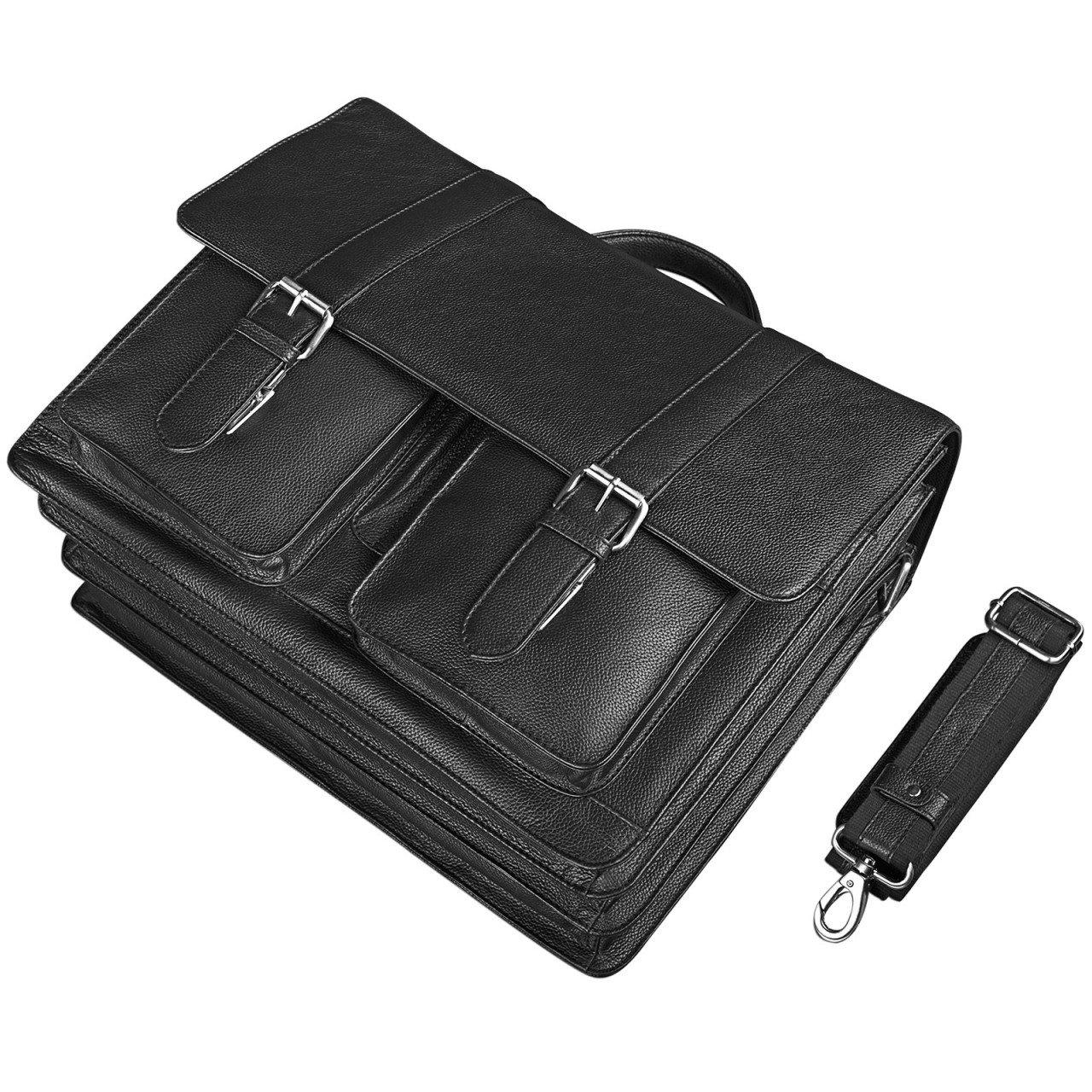 Colour:Black STILORD Marius Teacher Bag XL School Bag Leather Satchel Men Women Business Shoulder Bag Witch 14 inch Laptop Compartment Genuine Leather