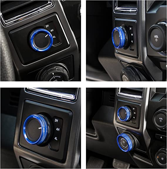 Red Four-Wheel Drive 4WD Mode Conversion Switch Ring Cover for Ford F150 2016 2017 Interior Trim Accessories