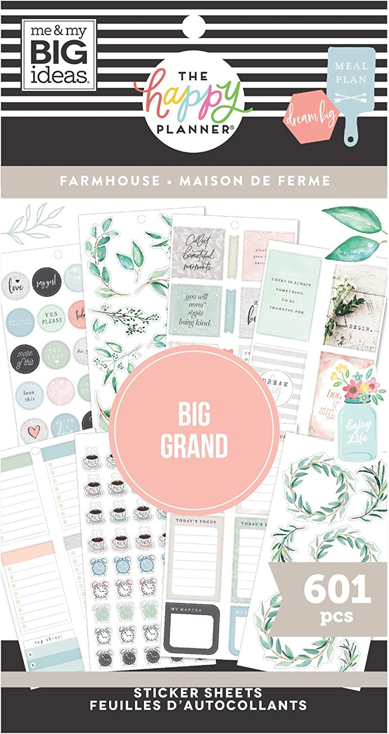 The Happy Planner Value Pack Sticker Sheets - Scrapbooking Supplies - Farmhouse Theme - Multicolor - Great for Journals, Scrapbooks & Albums - 601 Stickers