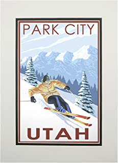 product image for Park City, Utah - Downhill Skier (11x14 Double-Matted Art Print, Wall Decor Ready to Frame)