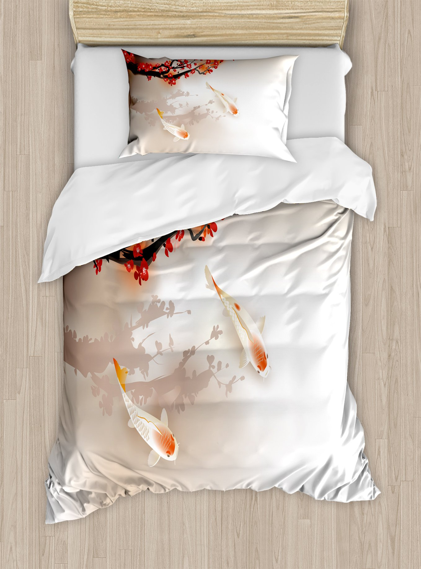 Lunarable Koi Fish Duvet Cover Set Twin Size, Sakura Branch and Leaves Sacred Animals in Small Body of Water Oriental Style, Decorative 2 Piece Bedding Set with 1 Pillow Sham, Peach Black Red