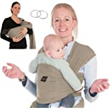 L&C Baby Carrier Wrap Sling w/Pocket - Nursing Cover Woven Cotton - Versatile - Perfect Baby Shower Gift - Grey - Instruction Video - 2 Sling Rings and E-book