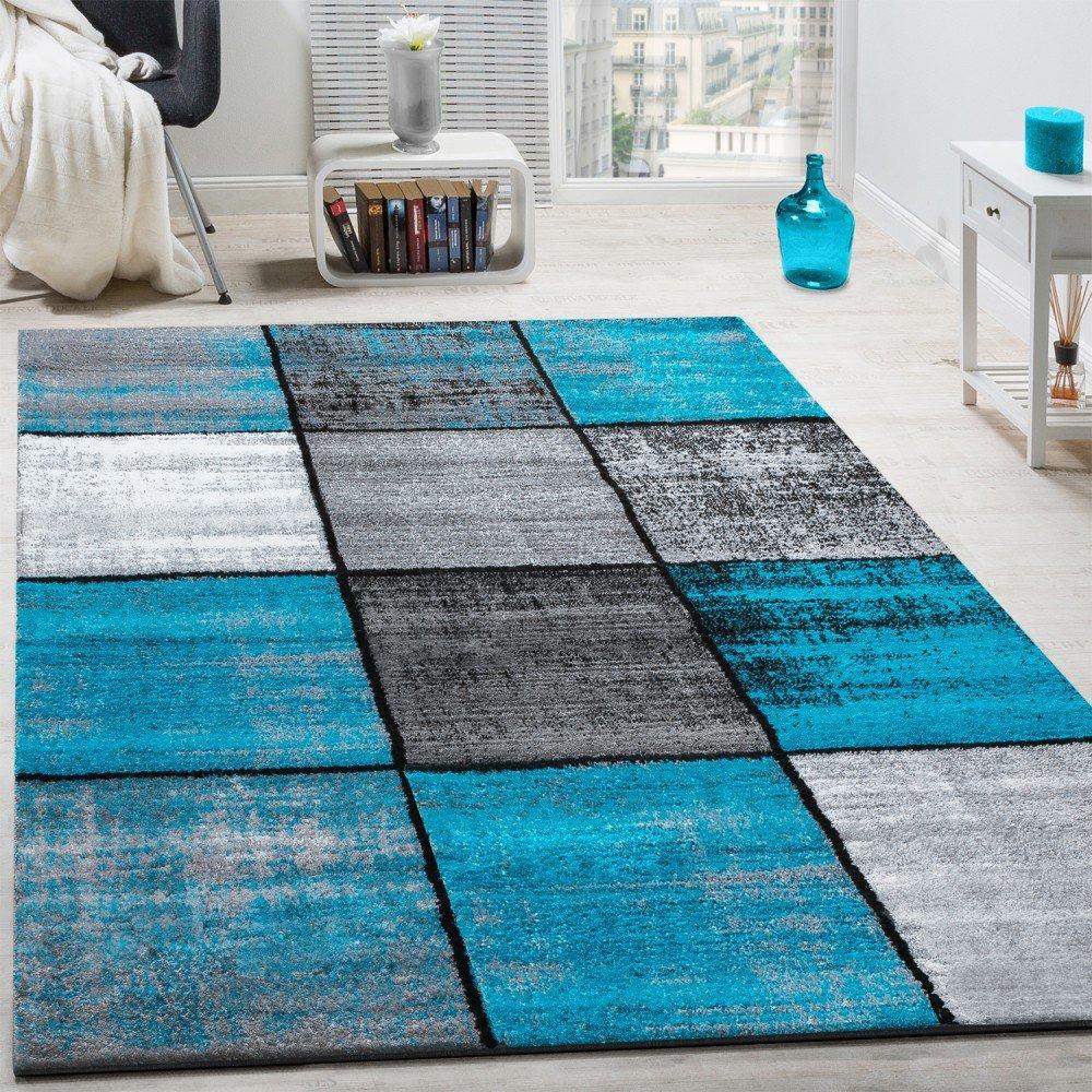 Paco Home Designer Teppich Modern Kurzflor Karos Speziell Meliert Grau Schwarz Türkis, Grösse 160x230 cm