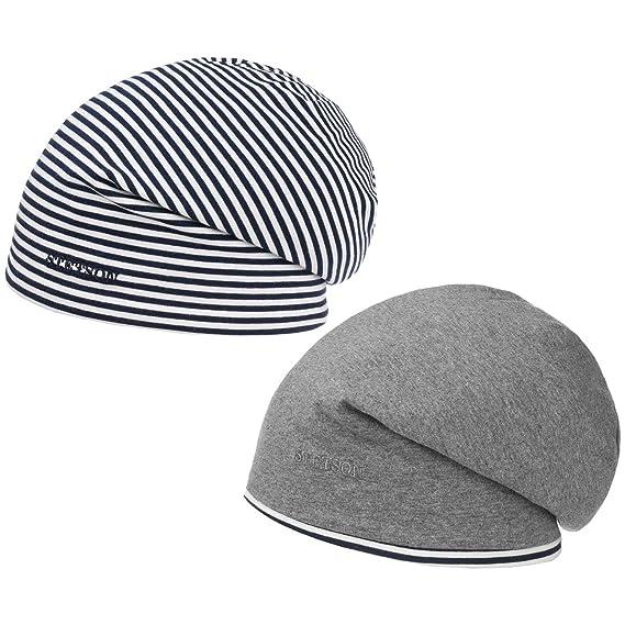 Stetson Reversible Jersey Long Beanie Oversized Knit hat (One Size - Grey- Blue) d9fecdc1ea18