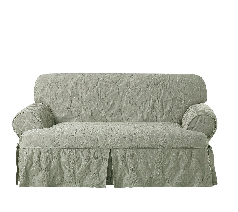 Sure Fit Matelasseダマスク1 Piece t-cushion Kick Pleat Loveseat Slipcover Love グリーン SF44291  セージ B01F63L77U