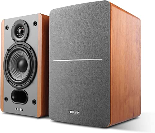 Edifier P12 Passive Bookshelf Speakers – 2-Way Speakers with Built-in Wall-Mount Bracket – Wood Color, Pair – Needs Amplifier or Receiver to Operate