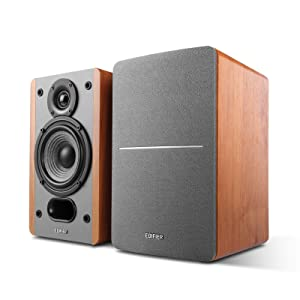 Edifier P12 Passive Bookshelf Speakers - 2-Way Speakers with Built-in Wall-Mount Bracket - Wood Color, Pair