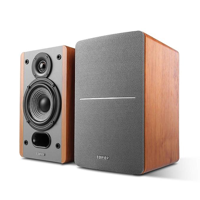 Edifier P12 Passive Bookshelf Speakers 2 Way Speakers With Built In Wall Mount Bracket Wood Color Pair