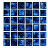 Square Tile Marble Blue Porcelain Mosaic Shiny Look 2x2 Inch (Box of 5.44 Sq Ft)