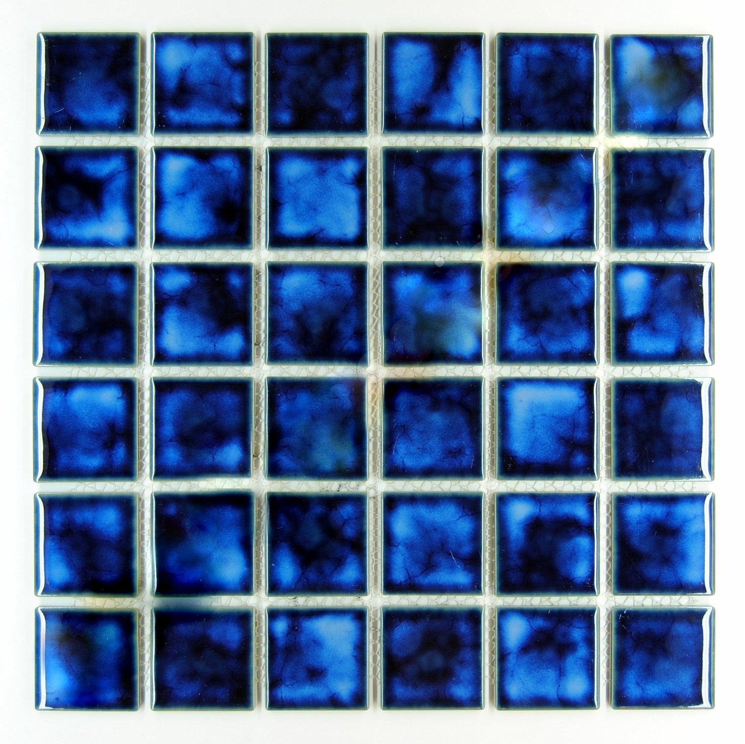 Square Tile Marble Blue Porcelain Mosaic Shiny Look 2x2 Inch (Box of ...