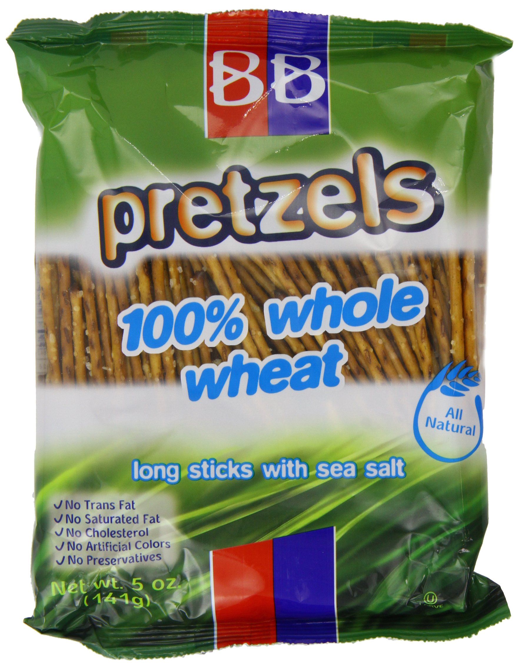 Beigel Beigel 100 % Wheat Pretzels, 100% Whole Wheat Long Sticks With Sea Salt, 5-Ounce (Pack of 24)