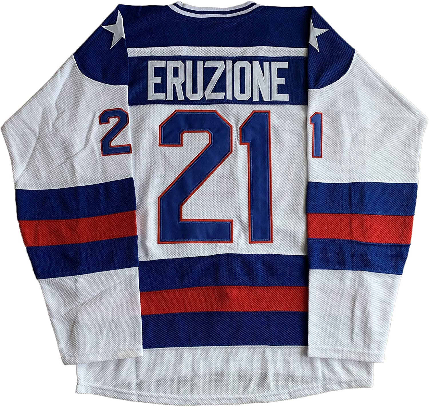 #21 Mike Eruzione 1980 Miracle On Ice USA Hockey 17 Jack O'Callahan 30 Jim Craig Stitched Hockey Jerseys (21 White, X-Large)