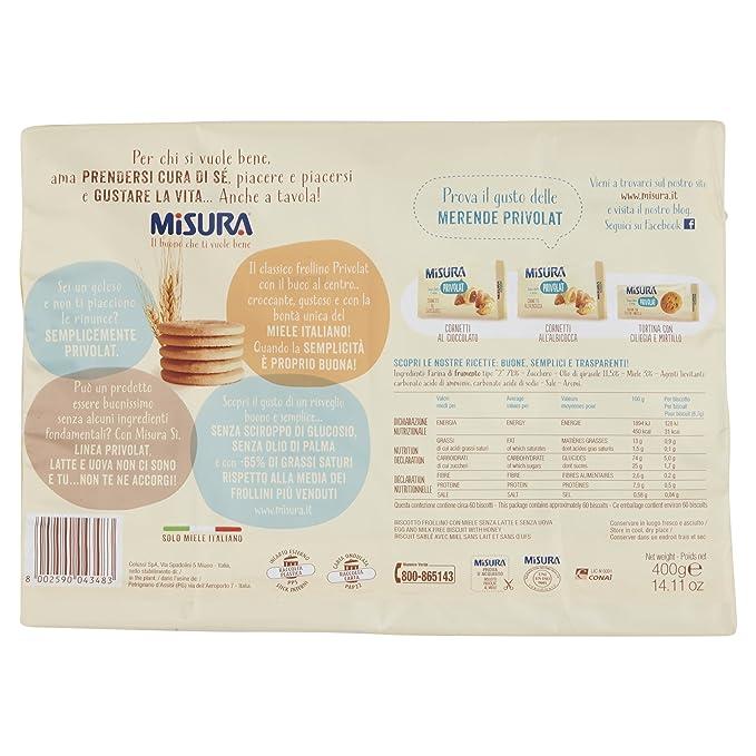 Tamaño - Privolat, galletas al miele italiano, sin leche y huevos - 3 paquetes de 400 g [1200 g]: Amazon.es: Alimentación y bebidas