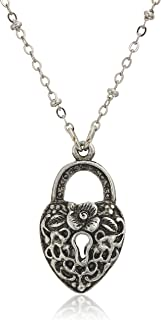 """product image for 1928 Jewelry Antiqued Pewter Tone Heart Shaped Paddle Lock Charm Pendant Necklace, 28"""""""