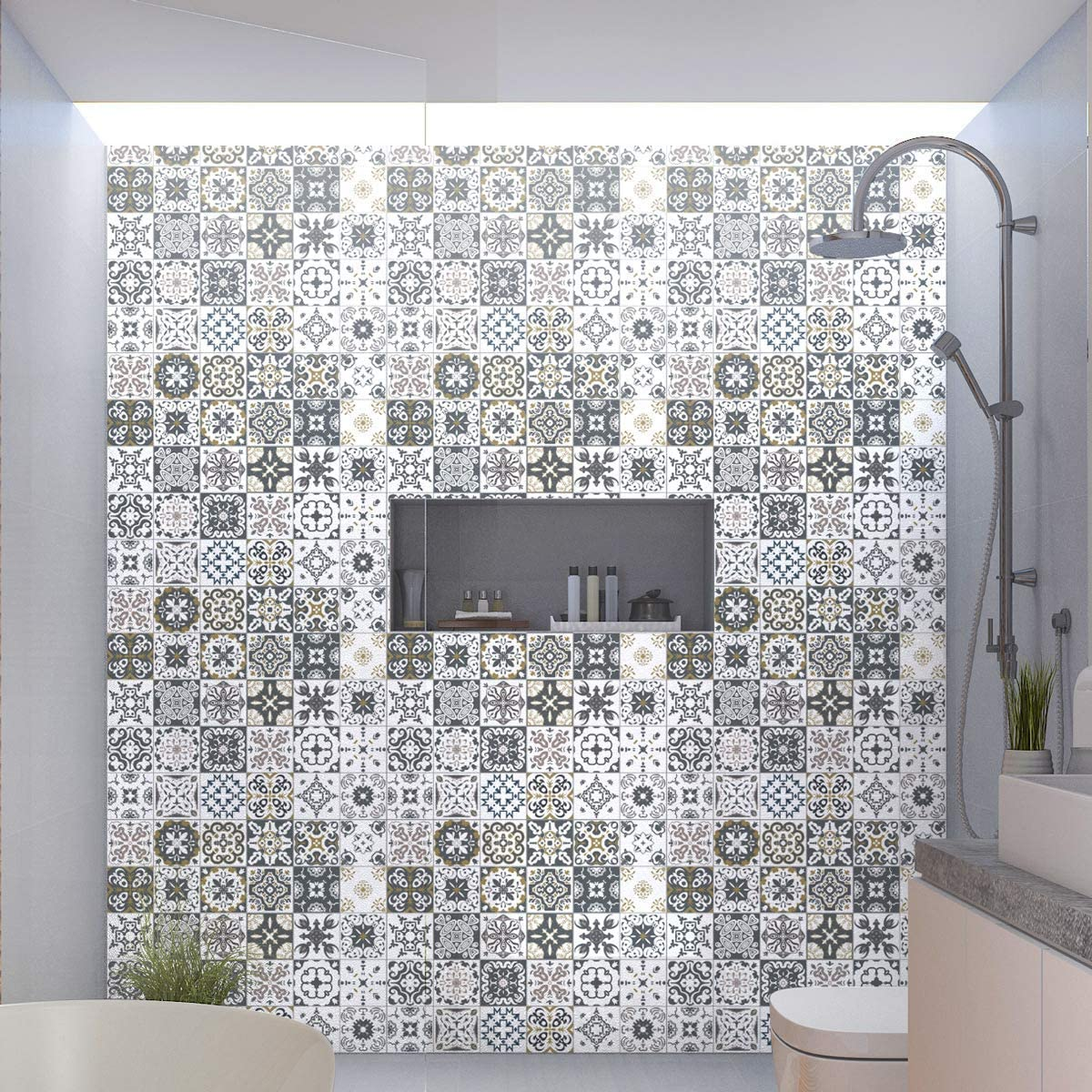 Stickers adhésifs carrelages  Sticker Autocollant Carreaux de ciment -  Mosaïque carrelage mural salle de bain et cuisine  Carreaux de ciment  adhésif