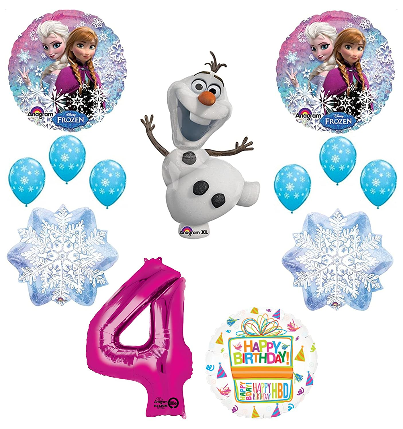Amazon Frozen 4th Birthday Party Supplies Olaf Elsa And Anna Balloon Bouquet Decorations Pink 4 Toys Games