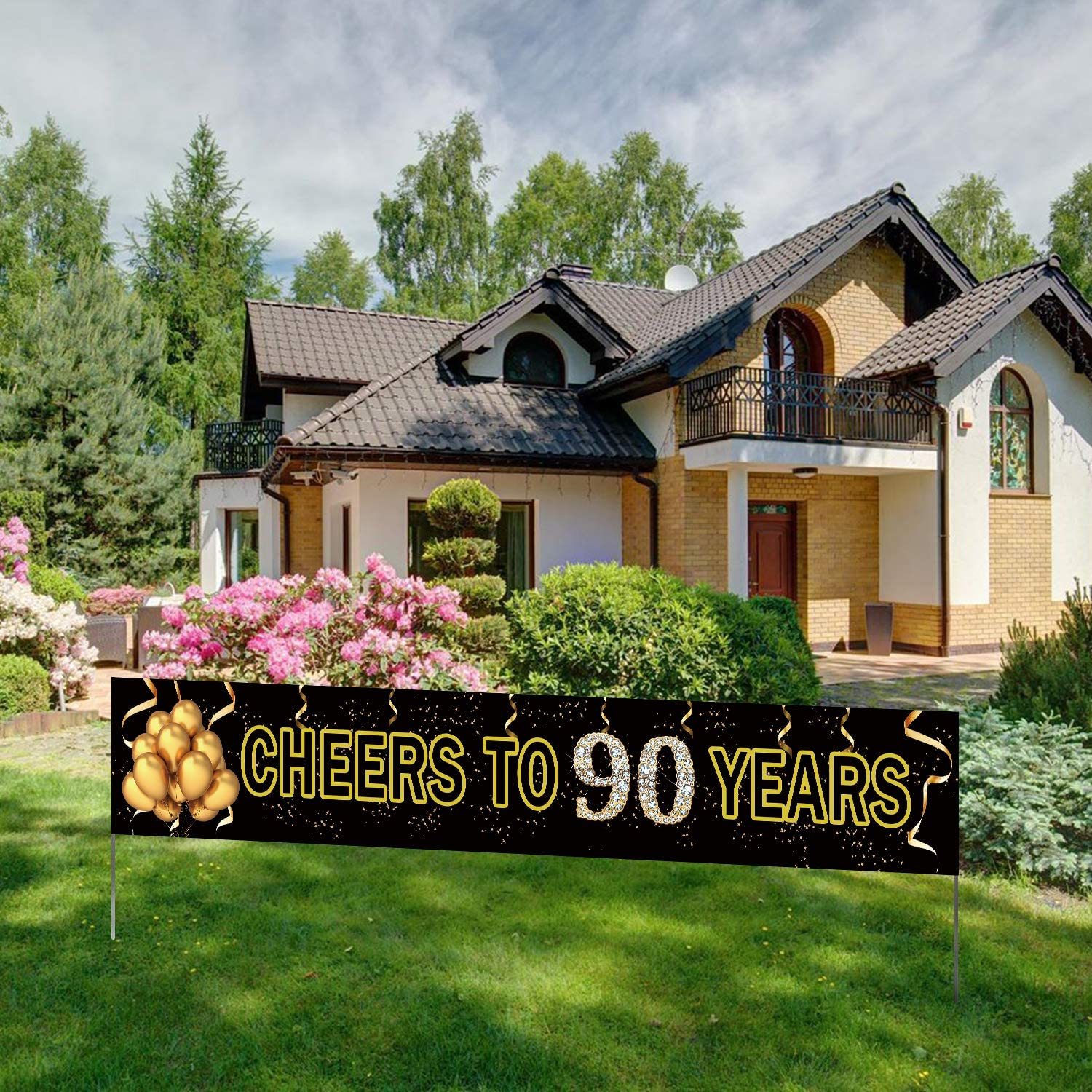 Large Cheers to 90 Years Banner, Black Gold 90 Anniversary Party Sign, 90th Happy Birthday Banner