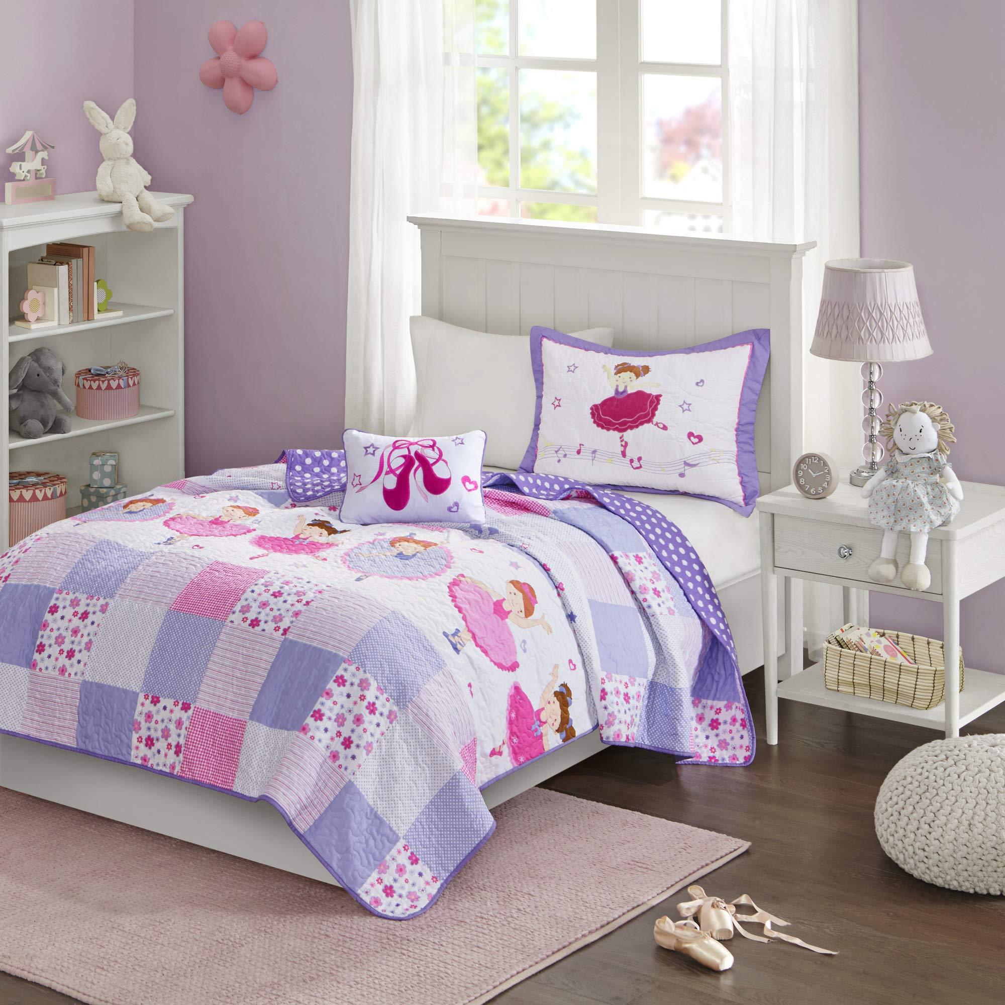 Mi Zone Kids Twirling Tutu Twin Bedding For Girls Quilt Set - Purple Pink , Princess - 3 Piece Kids Girls Quilts - Ultra Soft Microfiber Quilt Sets Coverlet by Mi-Zone