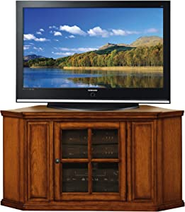 Leick Riley Holliday Corner TV Stand, 46-Inch, Burnished Wood Oak