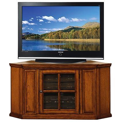 Amazon Com Leick Riley Holliday Corner Tv Stand 46 Inch Burnished