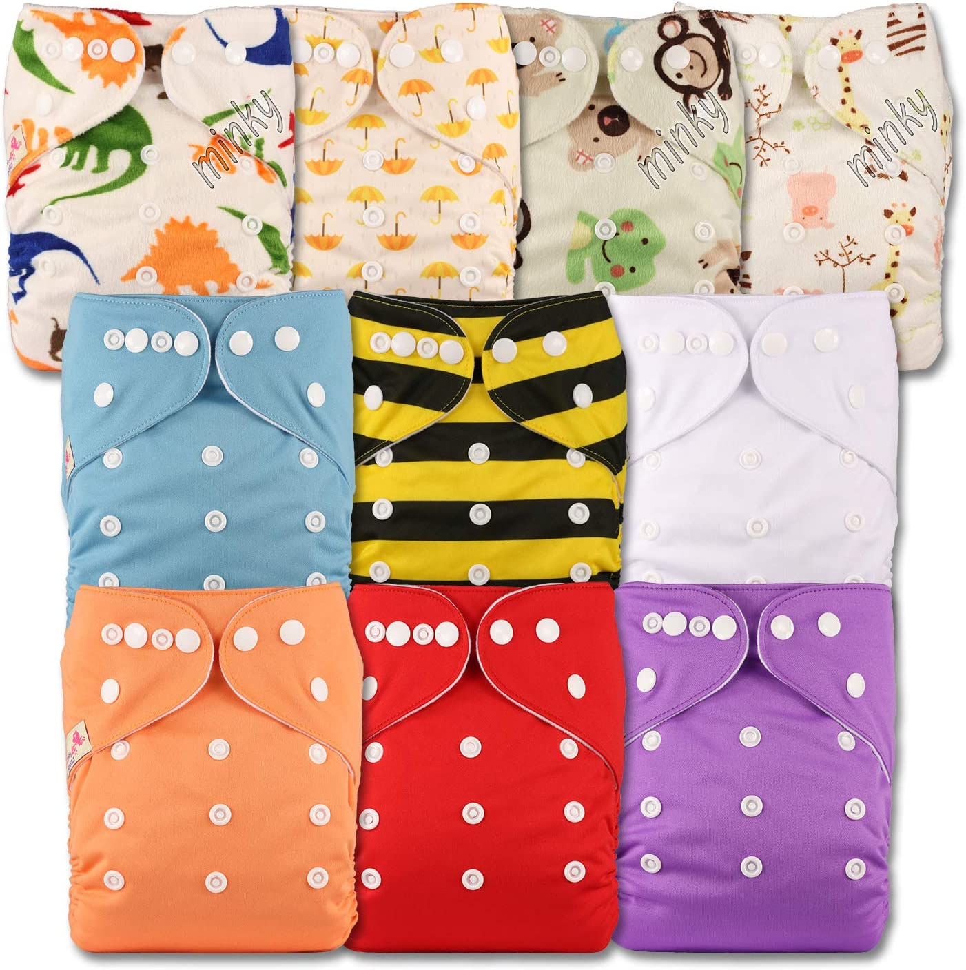 Reusable Pocket Cloth Nappy Littles /& Bloomz Set of 10 Without Insert Patterns 1009 Fastener: Popper