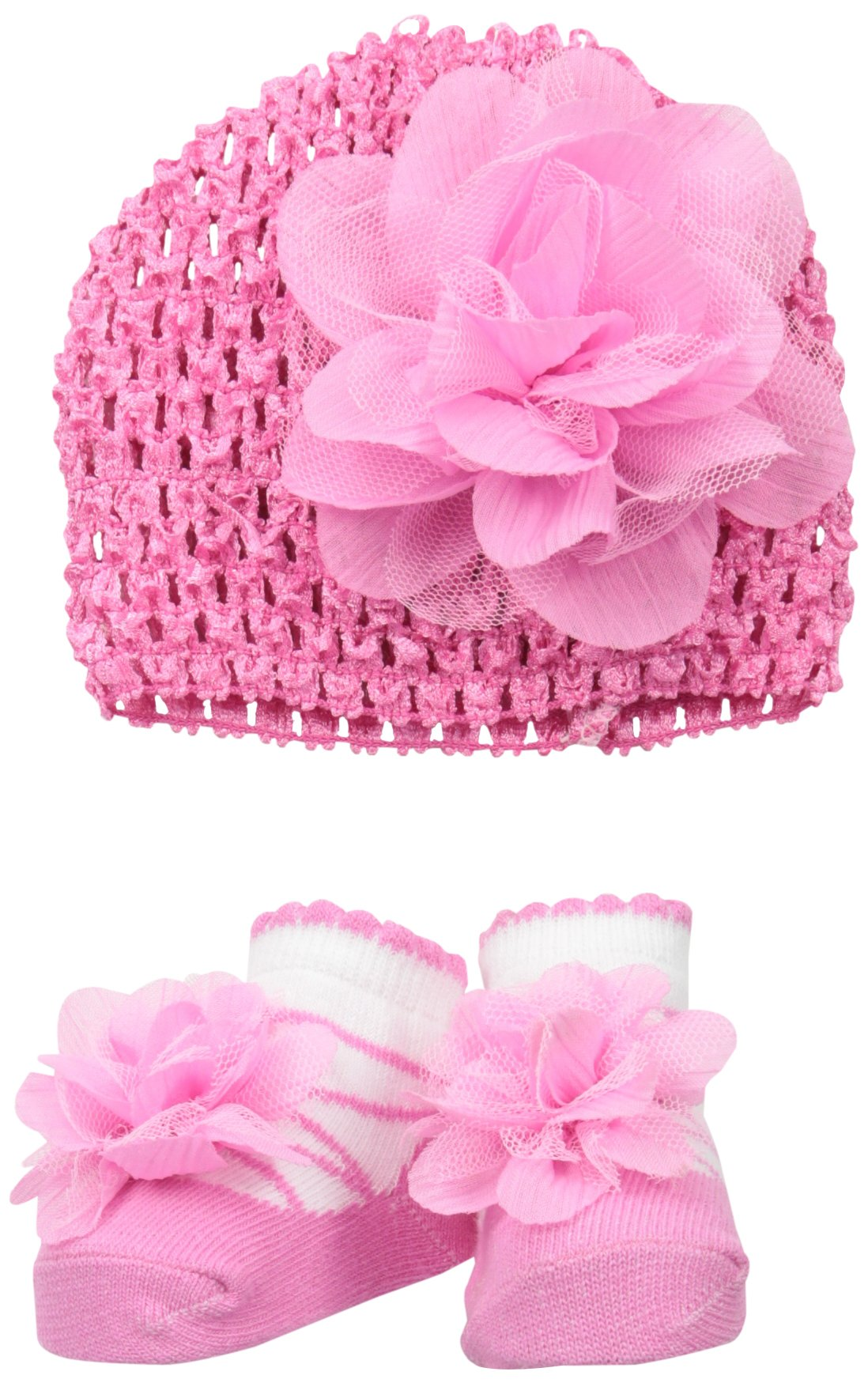 Little Me Baby Girls' Pink Tulle Flower Crochet Hat and Bootie Set, 0-12 Months by Little Me