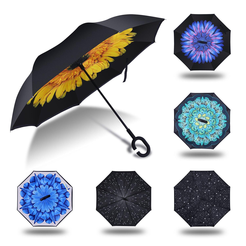 HISEASUN Parapluie Inversé Innovant Anti-UV Double Couche Coupe-Vent Mains Libres poignée en Forme C - Idéal pour Voyage et Voiture yusanbeilami