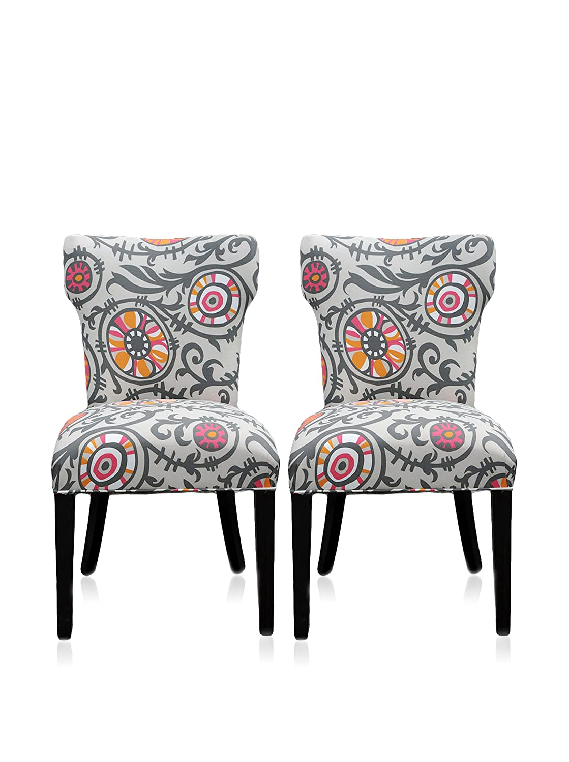 Amazon.com   Sole Designs Willard Collection Contemporary Fabric Upholstered  Dining Room Wingback Chairs, Set Of 2 Gray/Orange   Chairs