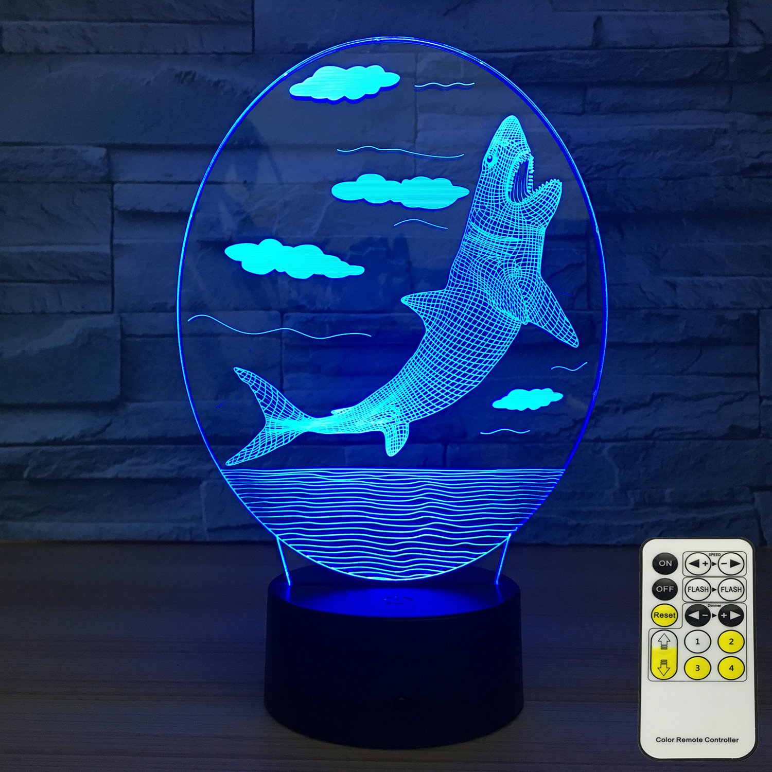 INSONJOHY Kids Night Lights Bedside Lamp 7 Colors Change Remote Control Timer 3D Night Light Kids Optical Illusion Lamps Kids Lamp As a Gift Ideas Boys Girls (Shark)