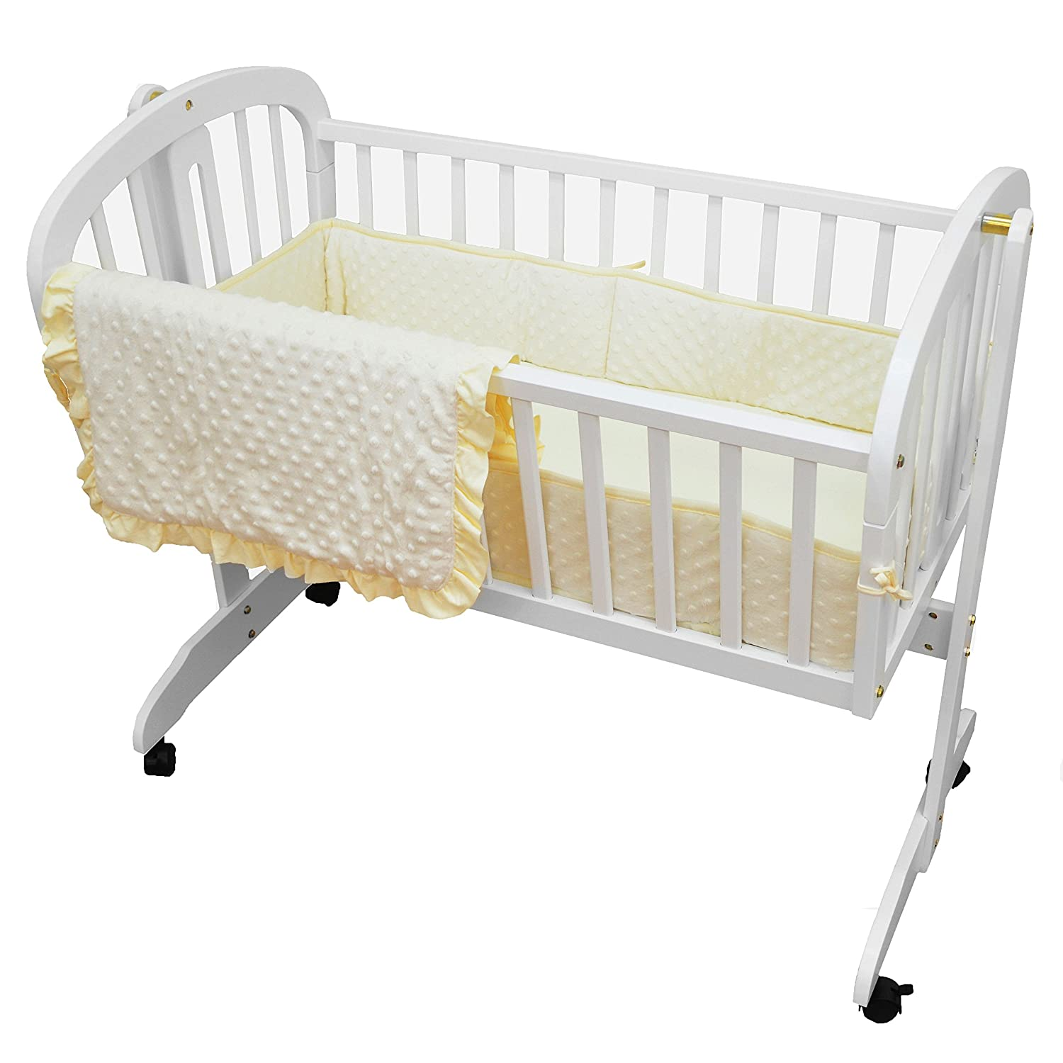 American Baby Company Heavenly Soft Minky Dot 3-Piece Cradle Bedding Set, White 1520SS White