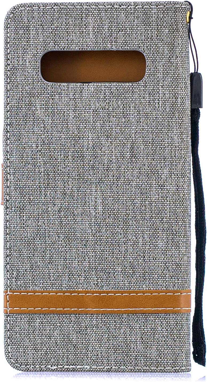 IKASEFU Compatible with Samsung Galaxy S10 Plus Case Slim Wallet Strap Credit Card Holder Slots Card Holder Shockproof Kickstand Magnetic Purse Folio Flip Book Cover Protective Bumper Case,black
