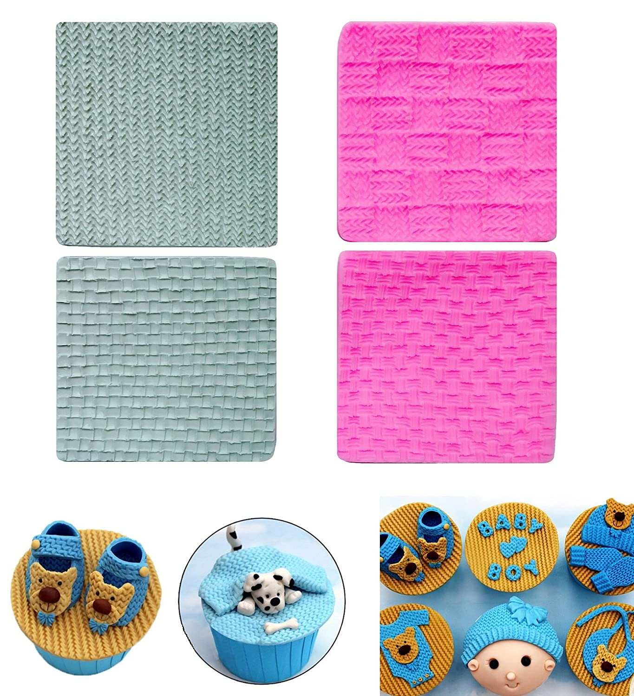 Amazon.com: PalkSky (Set of 4)Fondant Impression Mat, Knitting ...