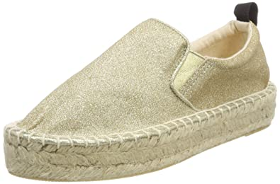 Colors of California Damen Espadrille Double Sole in Microglitter, Gold (Gold), 38 EU