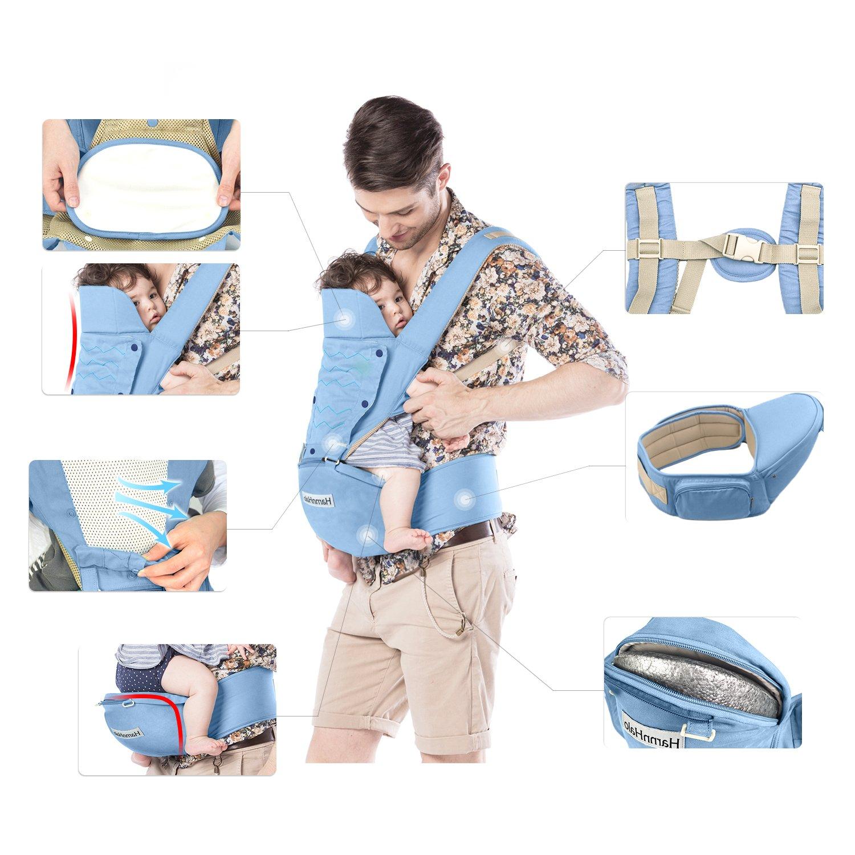 HarnnHalo 4 in 1 Leichte Ergonomische Babytrage Verstellbare Kindertrage mit Hip Sitz M10 Blau