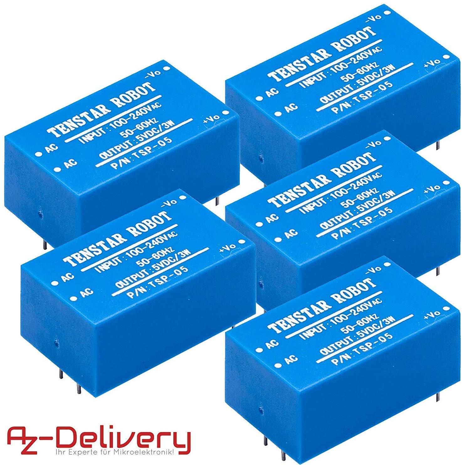 AZDelivery 5 x 220V a 5V Fuente de alimentación Mini para Arduino y Raspberry Pi con incluido