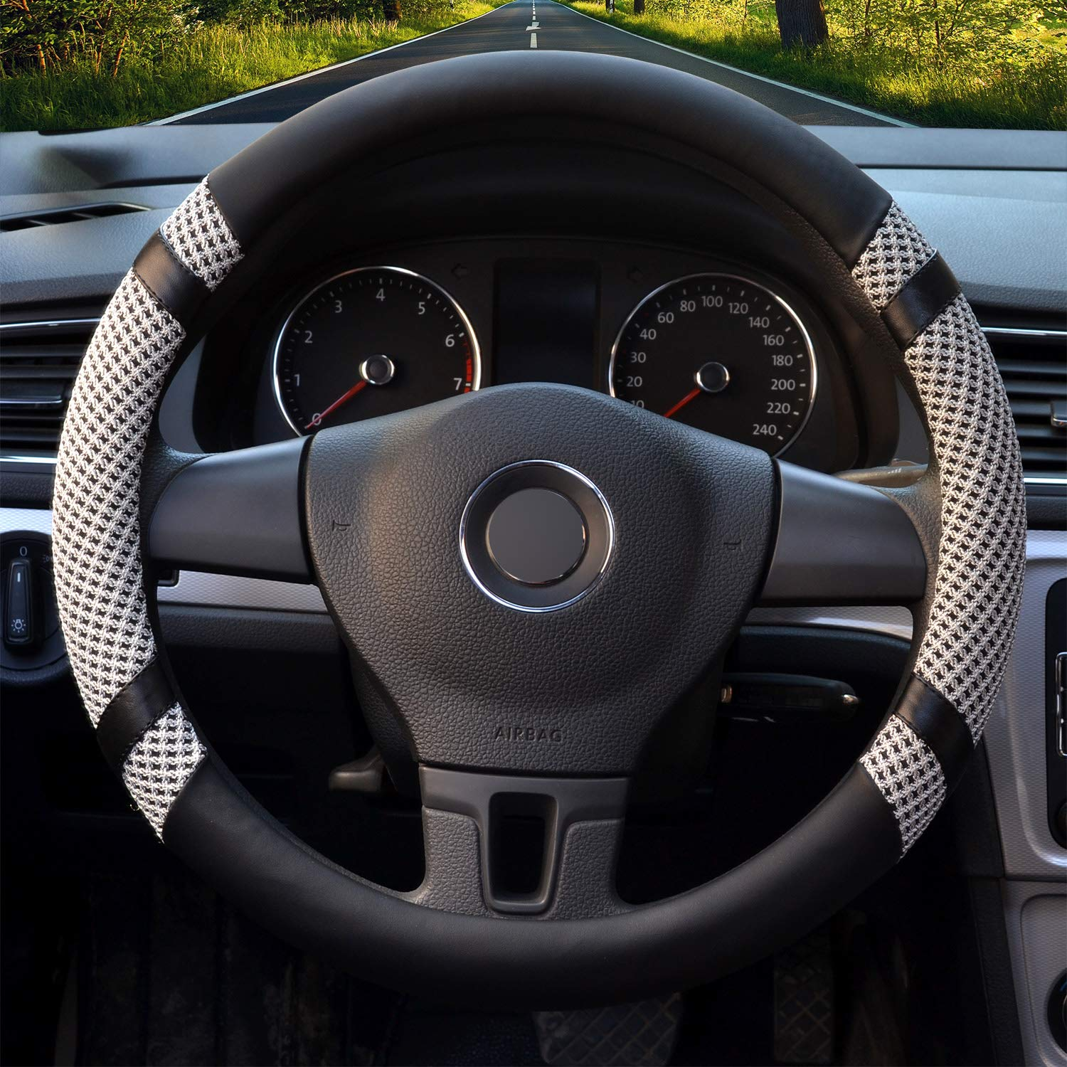 ToBeQueen Steering Wheel Cover 16 inch Large Car Leather Steering Wheel Cover for Women and Men,Black