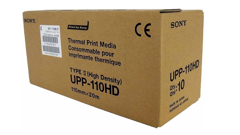 SONY UPP110HD Rollos de papel térmico de alta densidad para impresoras médicas en blanco y negro - tamaño A6 (110mm x 20m)