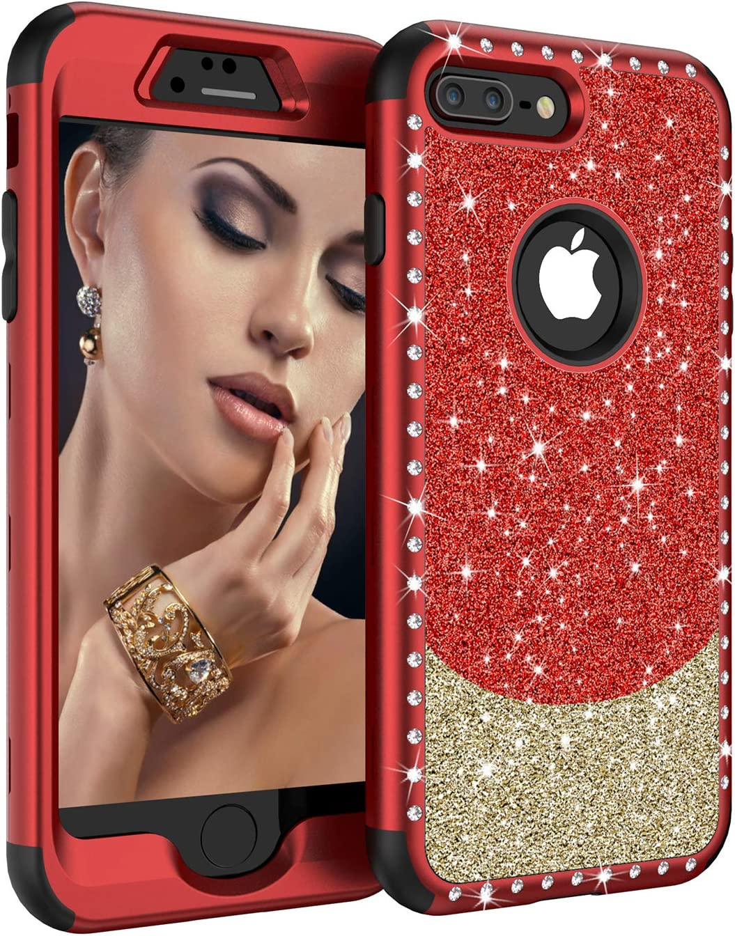 "iPhone 8 Plus Case, iPhone 7 Plus Case,UZER Three Layer Shockproof 3D Handmade Luxury Beauty Crystal Rhinestone Glitter Sparkle Bling Diamond Hard PC Soft Silicone Case for iPhone 8 Plus/7 Plus 5.5"""
