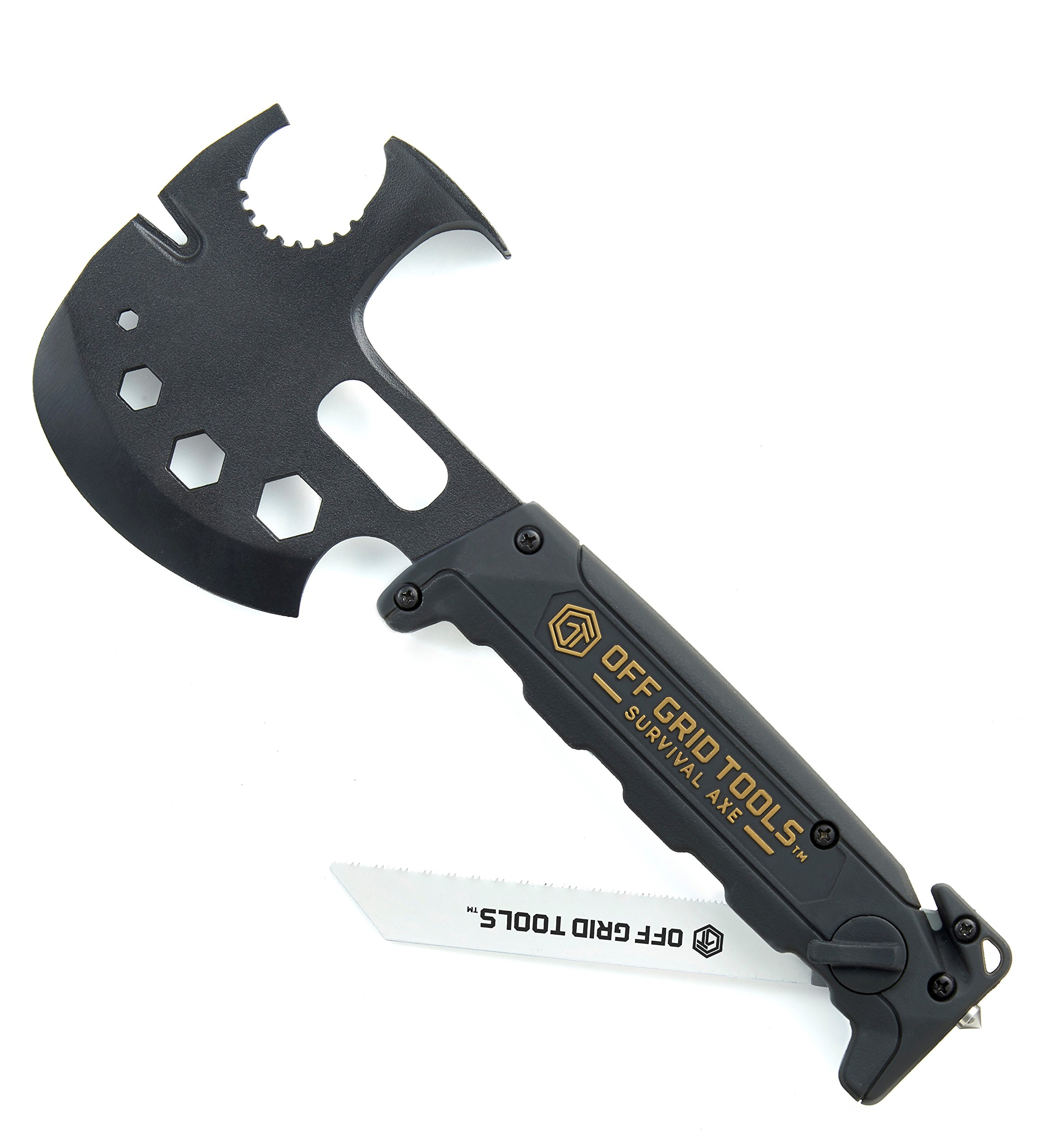 Off Grid Tools Survival Axe Ultimate Outdoor Multitool-Hatchet Hammer Saw, Black