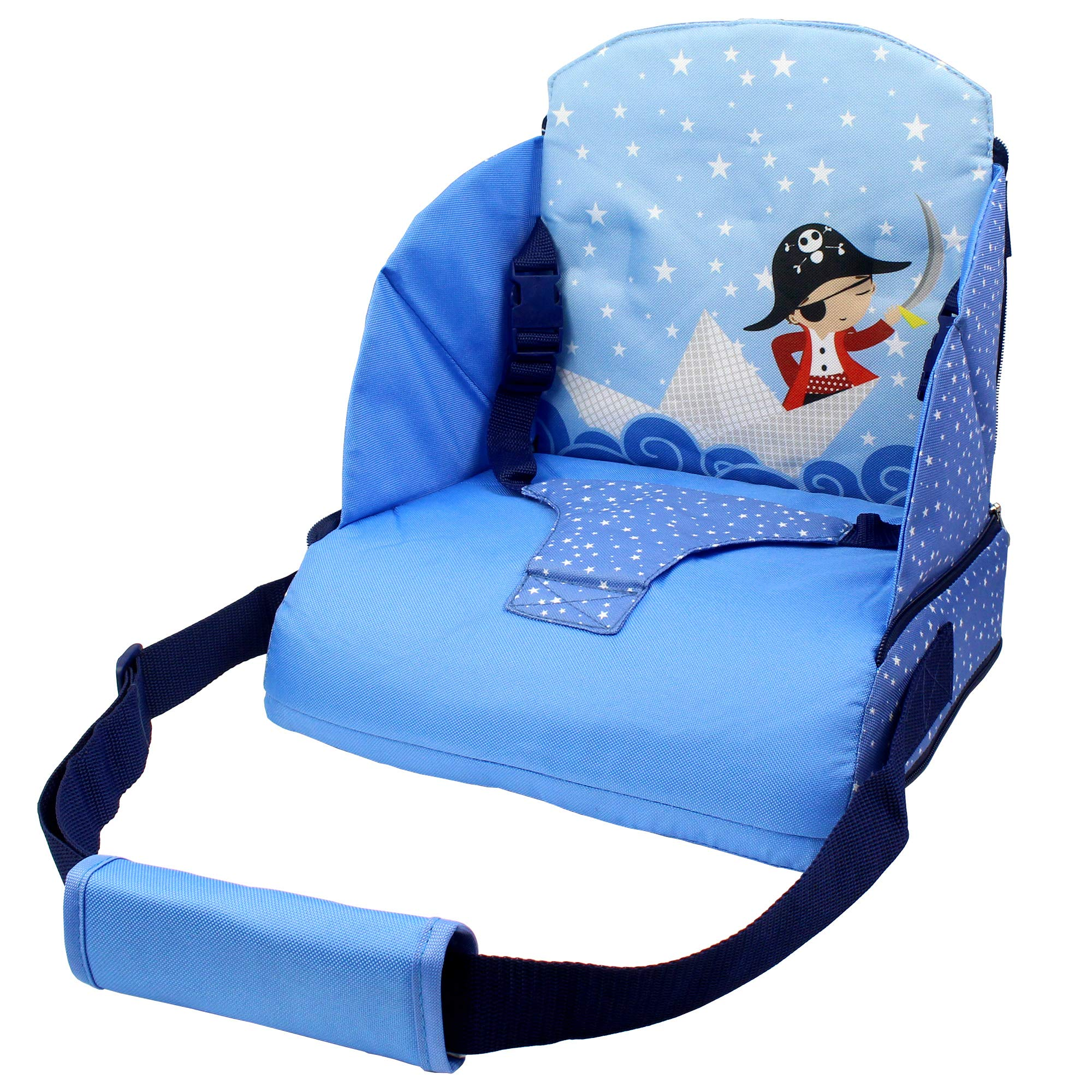 Abetto Baby Toddler Kids Infant Portable Booster Seat for Eating, Foldable/Washable/ Adjustable/Travel Dining Chair - Blue by Abetto