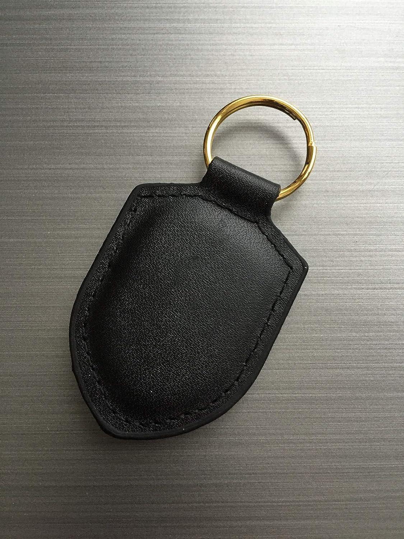 Porsche Leather Shield Keyring Black