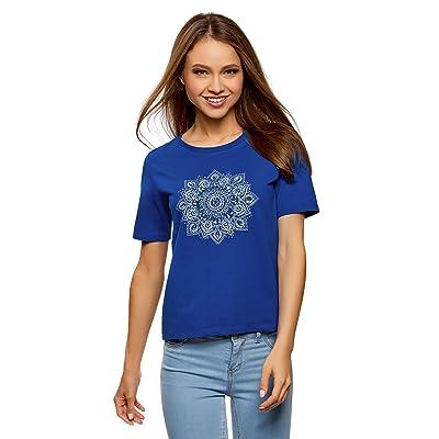 oodji Ultra Mujer Camiseta de Algodón con Estampado: Ropa y accesorios