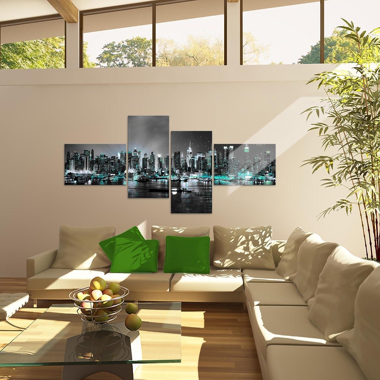 Tableau decoration murale La ville de New York 200 x 100 cm XXL Impression sur Toile Salon Appartment Bleu 4 Parties pr/êt /à accrocher 605441a